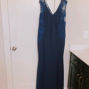 Navy Blue Long V-Neck Plus Prom Dress